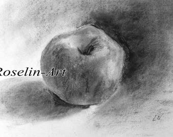 Charcoal drawing. Apple 2