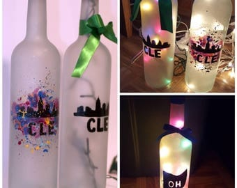 Custom Hand Painted Recycled Wine Bottle Lamp