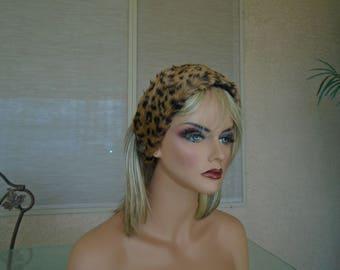 Leopard  faux fur hat