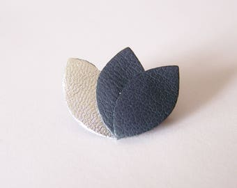 Brooch silver and dark gray leather