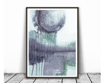 Printable abstract, contemporary art,  print from original painting, pastel colours, violet and mint, thistle colours, white,Abstract Print