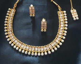 Kundan Necklace India Set Gold Indian Wedding Jewelry