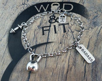 Bracelet Kettlebell Fat Amy Workout Motivation Jewelry Bodybuilding,Gym,Crossfiters Gift,Fit Mom,Fit Girl,Motivational Gift,Wod and Fit Gift