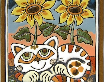 Ceramic Wall Picture Cat and Sunflowers