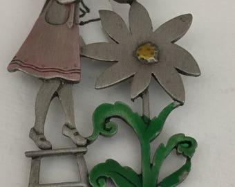 JJ  Pewter Whimsical Garden Pin