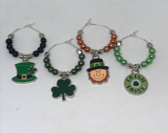Ready to ship, set of 4 St. Patrick's Day themed wine glass charms