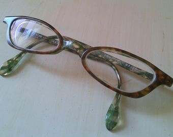 Alain Mikli cat eye frames, 1990's, made in France // French designer, glasses, green and amber, very pretty