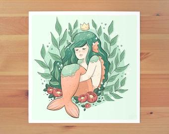Sleepy Mermaid Print