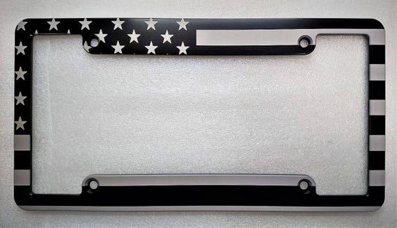 American Flag Billet Aluminum License Plate Frame Black