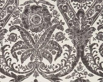 SCALAMANDRE LUCIANA DAMASK Print Linen Fabric 10 Yards Graphite