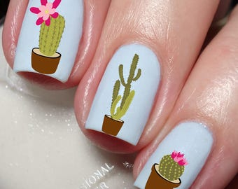 Cactus Nail Art Sticker Water Transfer Decal 127