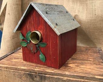 Cedar wren house, rustic birdhouse, vintage, recycled, re-purposed