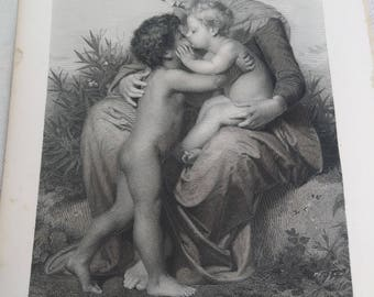 1876 Fraternal Love engraving by W. A. bouguereau