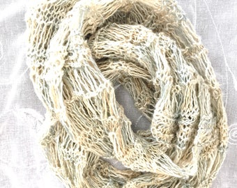 summer scarf, knit infinity scarf, natural fiber clothing, cotton linen, light scarf, knit cowl, hand knitted items, scarf necklace, cowl