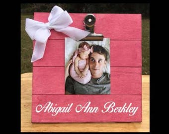 Any Name - Custom Made - New Baby Birth Announcement - Family Gift - Picture/Photo Clip Frame - Options Available!