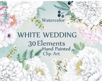 """ON SALE 30% Watercolor white flowers clipart: """"FLORAL Clipart"""" White floral Wedding clipart Diy invites invitation clipart white peonies Peo"""