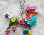 """Multi-colored Enamel Poodle Pendant with FREE 20"""" Chain"""
