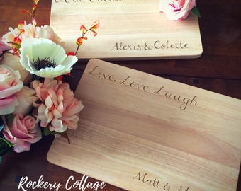 Custom cutting board, Live love laugh board, cheese board, engraved board, personalised cutting board, wedding gift, anniversary gift board
