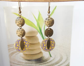 Earrings bronze sequin purple yellow