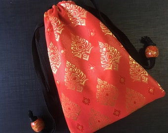 Handmade Thai Red Silk Tarot Pouch Bag Dice Pouch Jewelry Bag Glasses bag With Drawstring