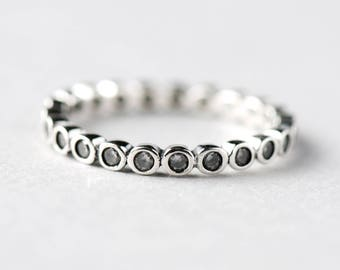 925 Sterling Silver Eternity Ring, Bezel Ring, Promise Ring, Dainty Ring, Engagement Ring, Rose and Choc Jewelry