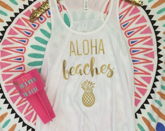 Aloha Beaches, Pineapple, Racerback Tank - In stock and ready to ship
