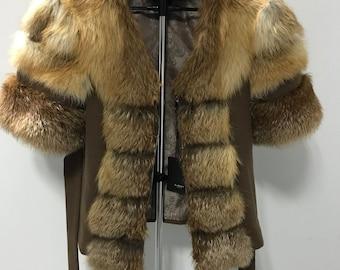 Bolero jacket coat fur  fox and cashmere