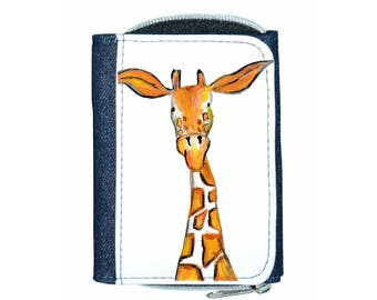 Giraffe denim purse, navy purse, denim purse, giraffe gift, giraffe wallet, giraffe purse, giraffe
