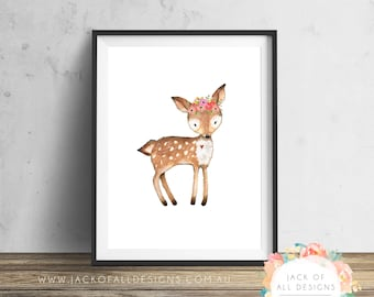 Deer - Wall Art Print - Nursery, Girl