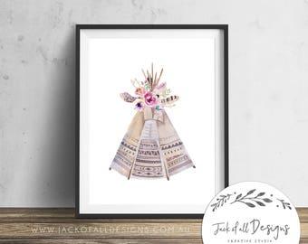 Floral Teepee - Wall Art Print