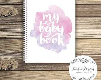 Baby Record Book - Girl - Watercolour Splashes - Basic