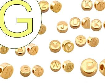 alphabet bead G 7mm gold plated #3866