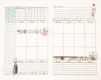 Monthly Planner Insert / Midori Insert/ Midori Weekly Insert/ Travelers Notebook Insert