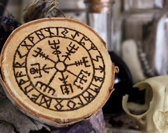 Vegvisir - Viking - wooden disc - Birch