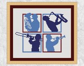 Music cross stitch pattern PDF, printable brass band musician silhouettes, jazz musical design, trumpet, euphonium, saxophone, trombone