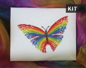 Rainbow butterfly cross stitch kit, modern embroidery kit, make your own craft, needlework - includes full instructions