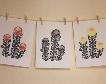 Hand Stamped Protea Block Print. Botanical Print. Handmade Block Print.