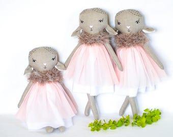 """Pastel lamb doll rag sheep. 16"""" homemade soft. Heirloom gift for girl, girl nursery decor, girl room ideas, soft animal toys, starter pack"""