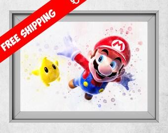 Super Mario Bros Print,Mario Bros Nursery, Watercolour Mario Bros, Mario Bros Galaxy, Mario Bros Kids Room Wall Art
