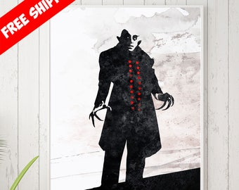 Nosferatu Poster, Nosferatu Art, Nosferatu Print, Minimalist Art, Vampire Art, Movie Poster, Film Print, Free Shipping, Goth Gift