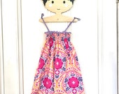 Girls sundress, girls dress, girls pink dress, girls summer dress, girls shirred dress, toddler sundress