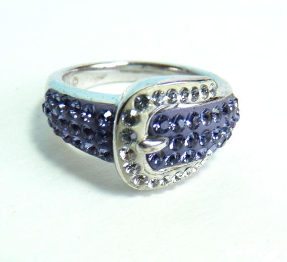 RING ~ STERLING SILVER Artistique Sterling Silver Crystal Buckle Ring ~ Gorgeous Swarovski Purple & White Crystals In Fun and Stylish Ring