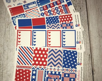 Happy Fourth of July---- Weekly Planner Kit ---- {Includes 210+ Stickers}