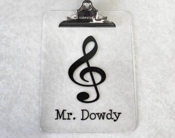 Music Clipboard - Personalized Teacher Clipboard - Teacher Gift - Personalized Teacher Gift - Teacher Appreciation -  Teaching