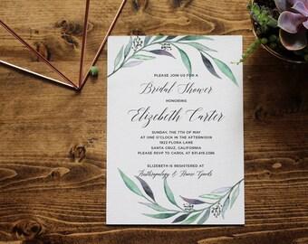 Eucalyptus Greenery Bridal Shower Invitation | Eucalyptus Watercolor | Printable Invitation