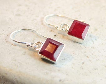 Sterling Silver Ruby Earrings