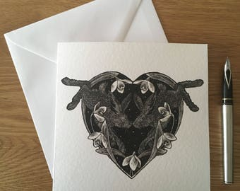 Hearts and Hares greetings card