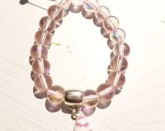 Rose Aura Quartz Girls Healing Bracelet with Icecream Charm