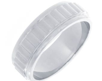 Men's Wedding Band 7.35 mm 14k White Gold