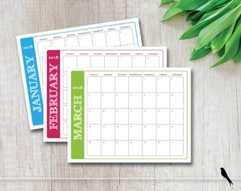 2018 Printable Monthly Wall Calendar Family Planner - Home, Classroom Calendar - Simple Modern Rustic Font Color - Instant Download Calendar